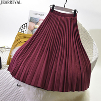 2019 Spring Winter Suede Skirts Womens High Waist Pleated Skirt Brand Fashion Office Ladies Casual Pleated Skirt Faldas Mujer