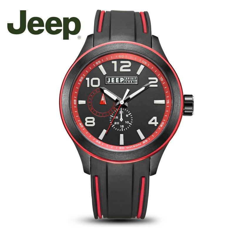 Jeep оригинальный Для мужчин часы кварцевые водонепроницаемость силиконовой лентой часы 24 часовой Дисплей Для мужчин смотреть JPS80103