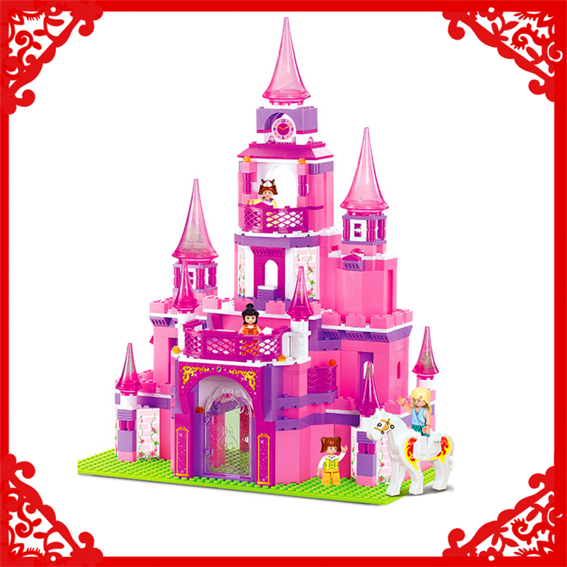 SLUBAN 0152 Block Pink Dream Princess Castle Model 472Pcs DIY Educational  Building Toys Gift For Children Compatible Legoe sluban pink dream girls