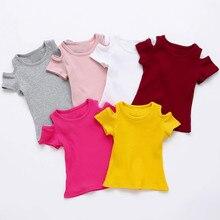 Мягкие однотонные мягкие детские топы с короткими рукавами для маленьких девочек, футболка, одежда