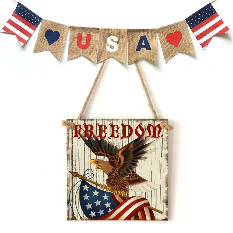 Image 5 - Vintage Wooden Hanging Plaque Freedom Sign Board Wall Door Home Decoration Independence Day Party Gift-in Plaques & Signs from Home & Garden