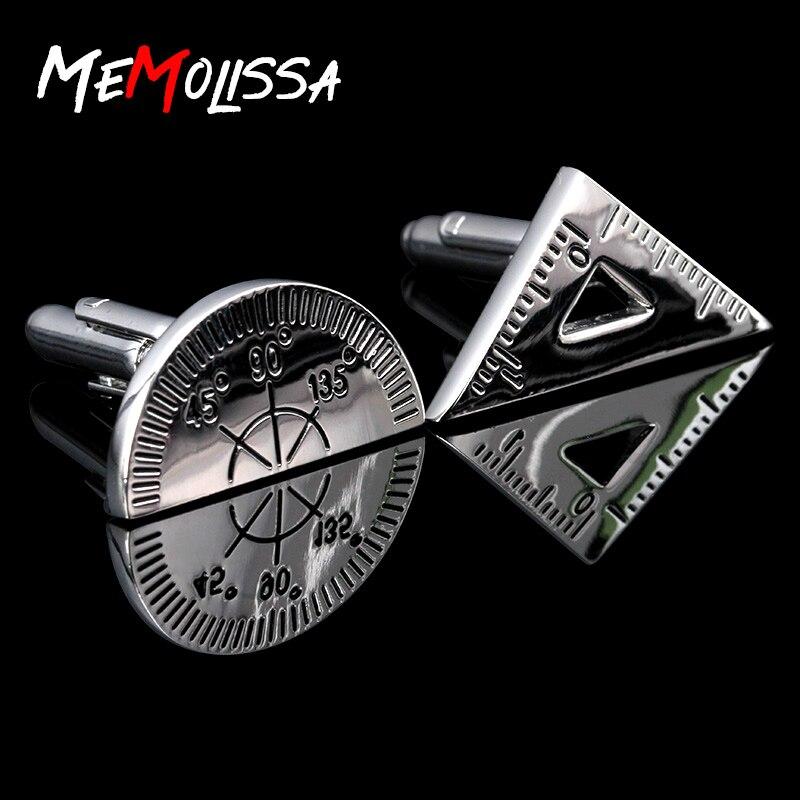 MeMolissa Top Designer Cufflinks Triangle Ruler Protractor Cufflinks Men's Shirt Cuff Jewelry Abotoaduras Men's Gift