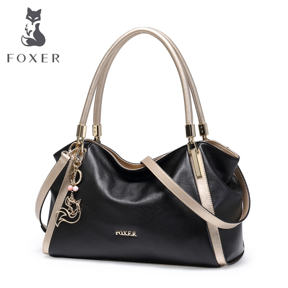 FOXER Brand Design Women's Soft Ægte Læder Håndtasker High Quality Kvinde Cowhide Big Size Shoulder Bag Fashion Tote
