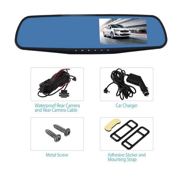 4.3インチ車dvrミラー1080 1080pデュアルレンズダッシュカメラ自動運転ビデオレコーダーとリアビューカメラ車ダッシュカム
