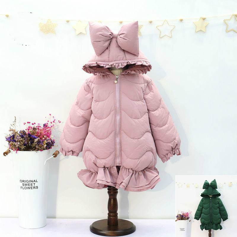 2017 Winter new children's clothing girl thickening jacket cotton clothing children cute bowknot clip zipper jacket free shipping winter girl stripe cute doll skirt cotton quilted jacket