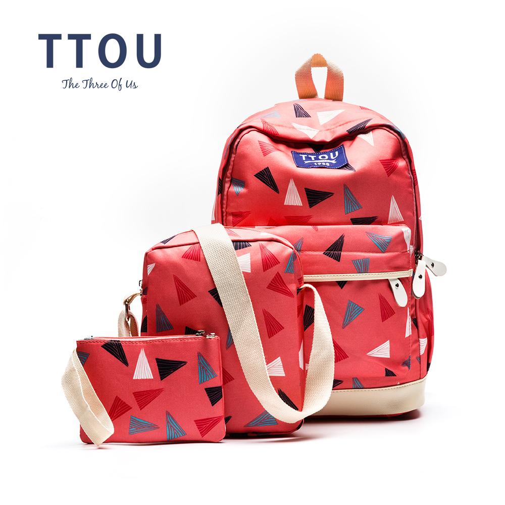 TTOU 3 pcs set Backpack Women Backpack Cute Lightweight Canvas Middle High School Bags for Teenage
