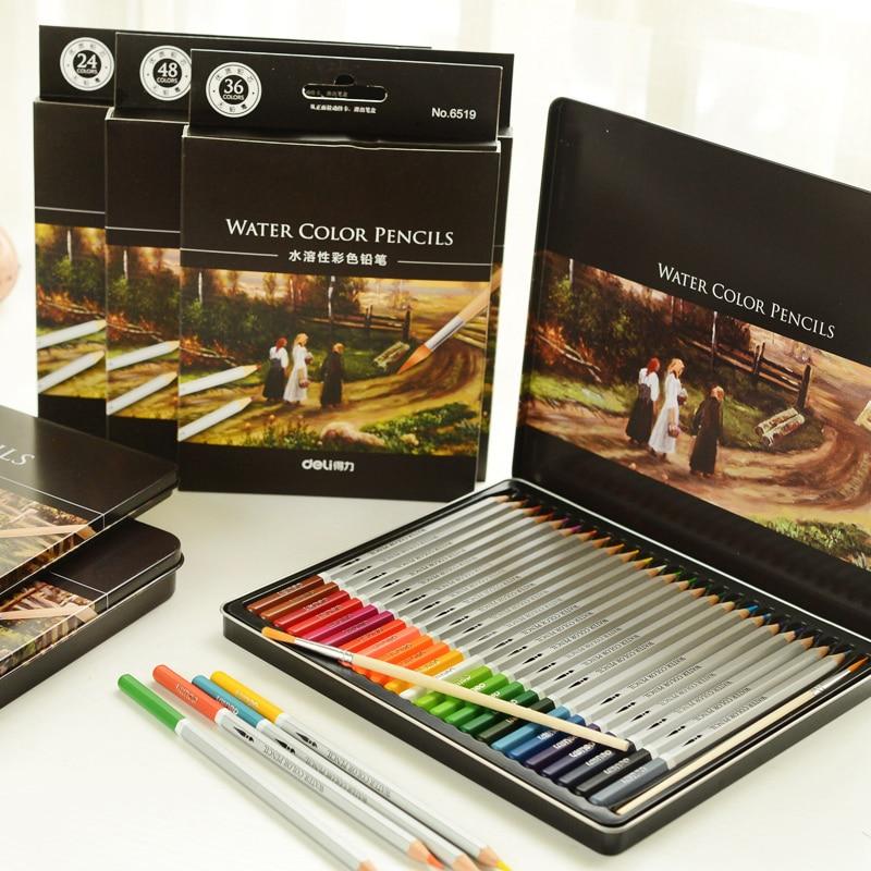 Watercolor Color Pencil 24/36/48/72 Watercolor Pencil Soluble Color Lead Tin Coloring Colour Painting Color Pencil Secret Garden