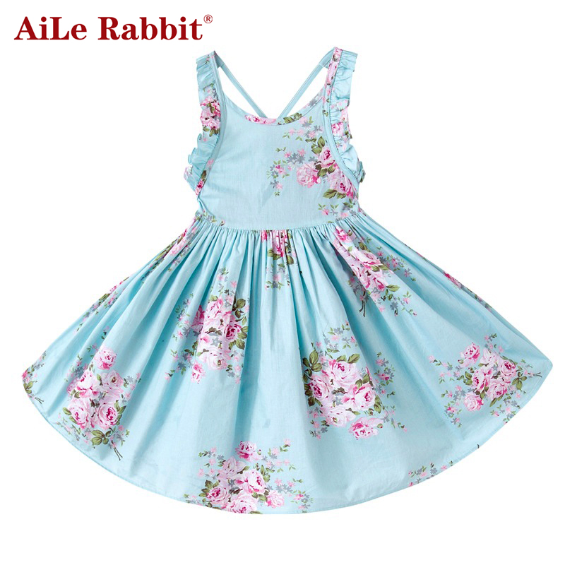 AiLe Rabbit Baby Girls Dress marki Summer Beach Style Floral Print Party Backless Sukienki dla dziewczynek Vintage Toddler Clothing