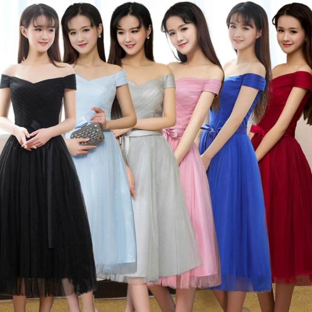 ac2ce02560bf girls cute bridesmaid dresses dark red size 8 tea dress light blue bal tea  party gown blush for girls a wedding guest W3596