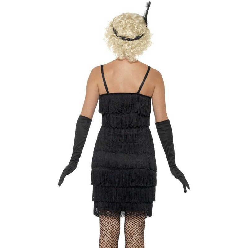 Women/'s Black 1920/'s Deluxe Flapper 8 Tiered Fringe Costume Dress Beaded Straps