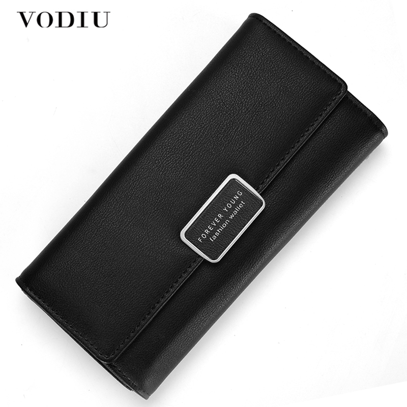 RFID Wallet Female Purse Women Leather Wallet Card Holder Coins Purse Phone Wallet Trifold Clutch Bag Long Slim Simple Buckle