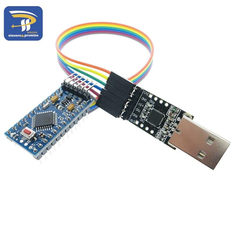 1PCS 6pin CP2102 USB 2.0 To TTL UART Module + 1PCS Pro Mini Module Atmega328 5V 16M For Arduino Compatible With Nano