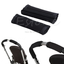 2Pcs Baby Stroller Carriage Front Handle Cover Neoprene Magic Tape Bumper Bar -B116