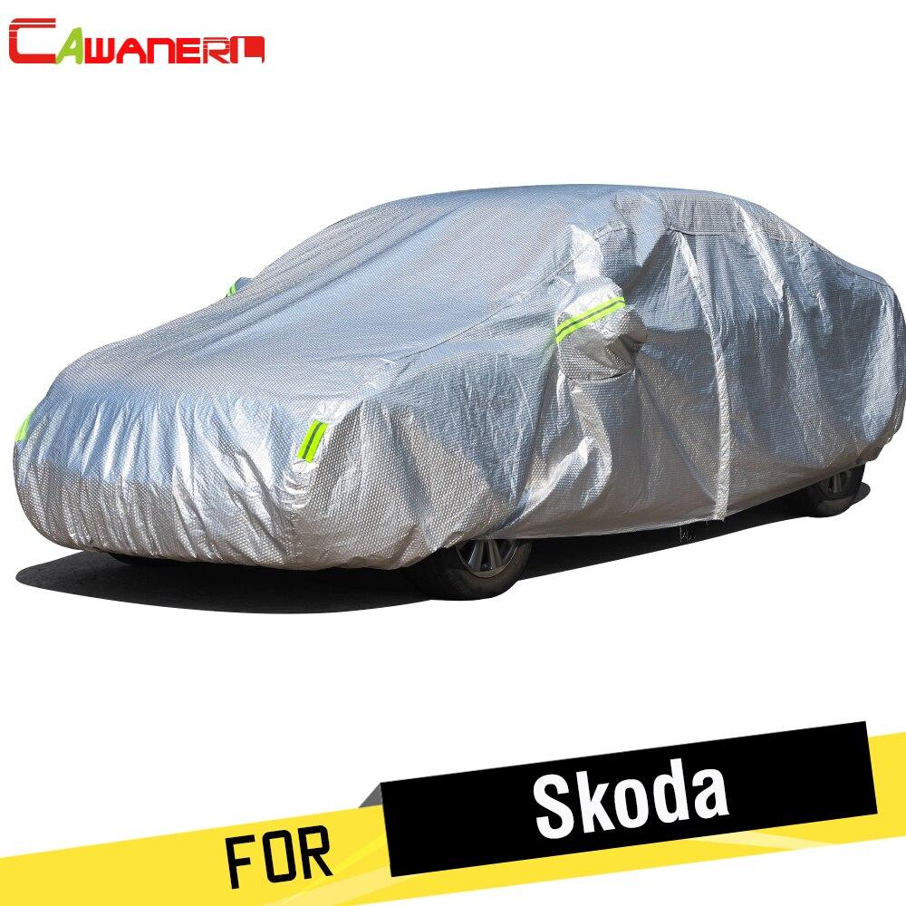 Cawanerl épaissir bâche de voiture Anti-UV pare-soleil neige résistant à la pluie couverture en coton pour Skoda Citigo Rapid Roomster Yeti superbe Forman