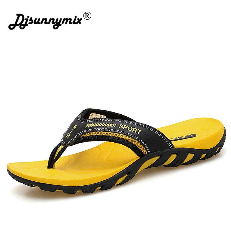 DJSUNNYMIX Men's Summer Slippers Shoes Casual Outdoor Beach Flip Flops For Men Rubber sole