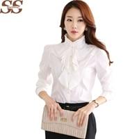 New Arrival Chiffon Ruffles Women Shirts Lady White Shirts Long Sleeve Blouse Shirt Plus Size S-5XL Slim Female Blusa Women Tops
