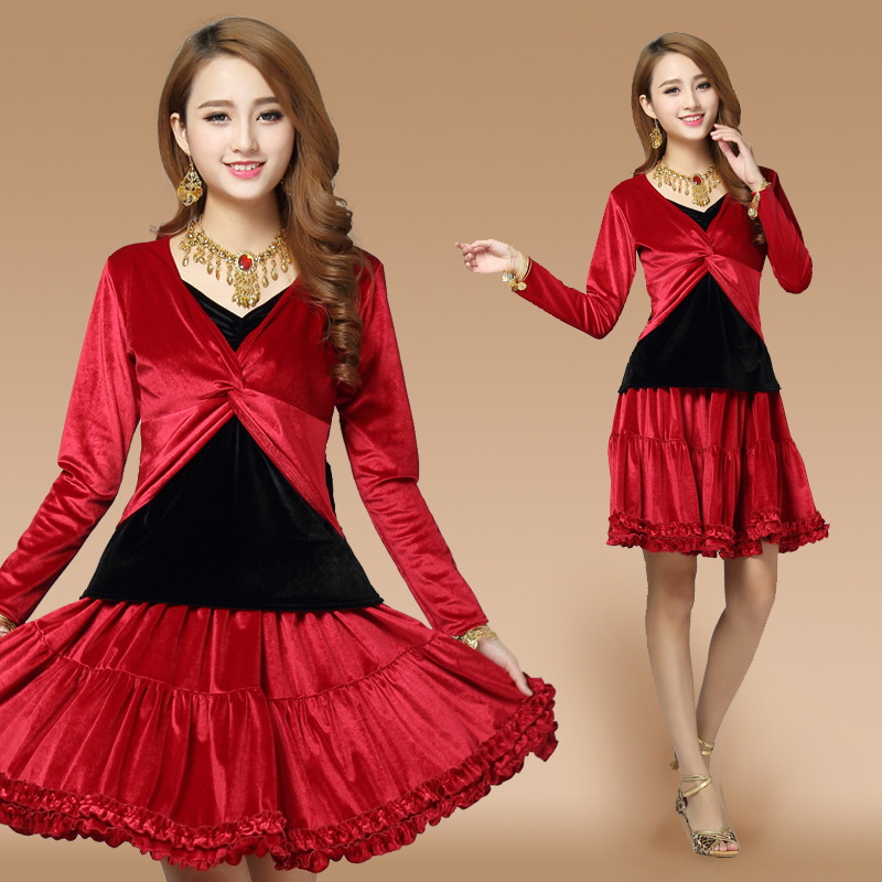 Long Sleeve Red Velvet Latin Dance Dress Women Dress For Ballroom Dancing Ladies Beyonce Leotard Tango Dance Dress Salsa Costume
