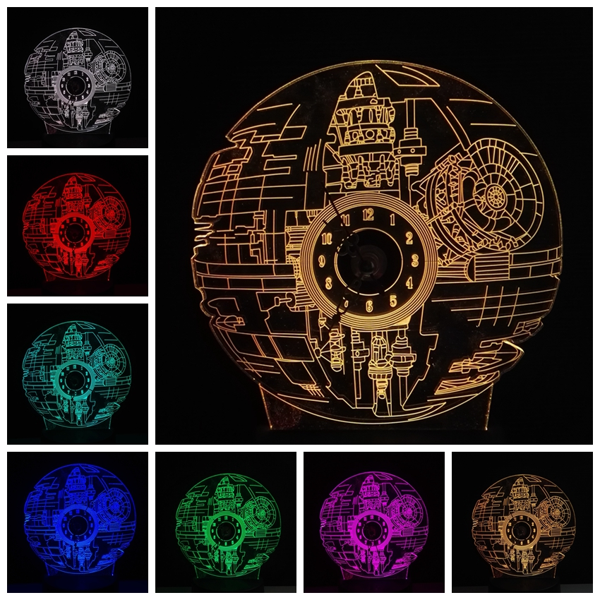Amroe New 2018 3D RGB LED Death Star Clock With Horologe Night Light 7 Color Change Desk Table Lamp Lustre USB for Child Gift