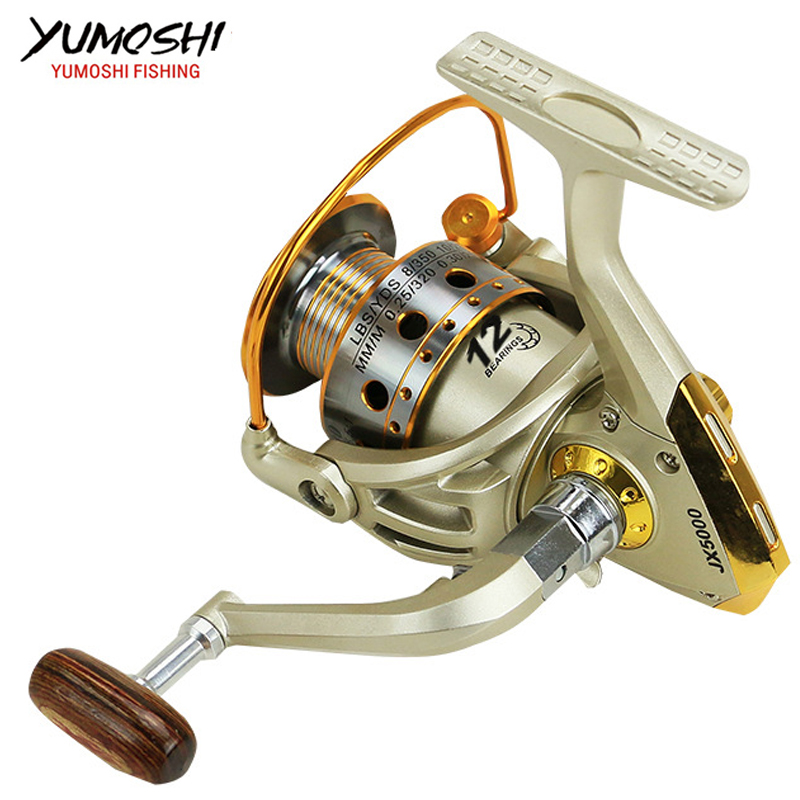 Fishing pesca reel wheel carretilha carp fly reels molinete para peche spinning metal spool 5.5:1 12BB 1000-7000series