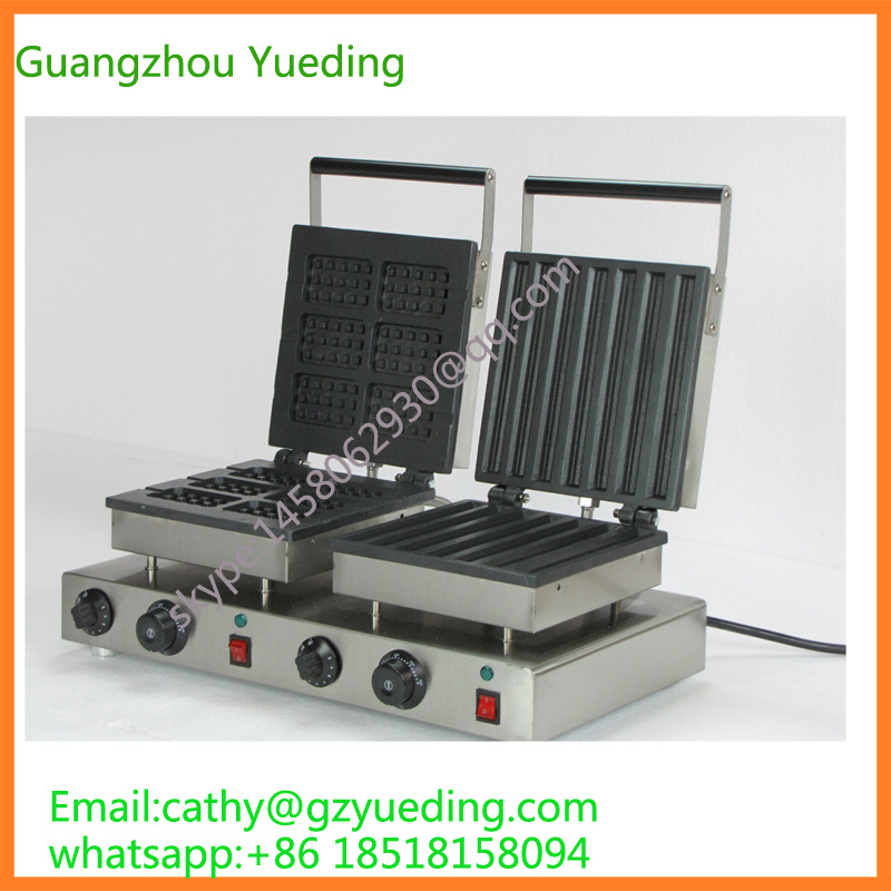 Commercial Use Non-stick 110v 220v Electric Double-head Square Belgian Waffle Churros Iron free shipping commercial use non stick 110v 220v electric 8pcs square belgian belgium waffle maker iron machine baker