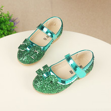 SpringAutumn Kids Fashion Princess Flat Shoes Girls Korean Bow PU Leather Glitter Child Dance Shoes School