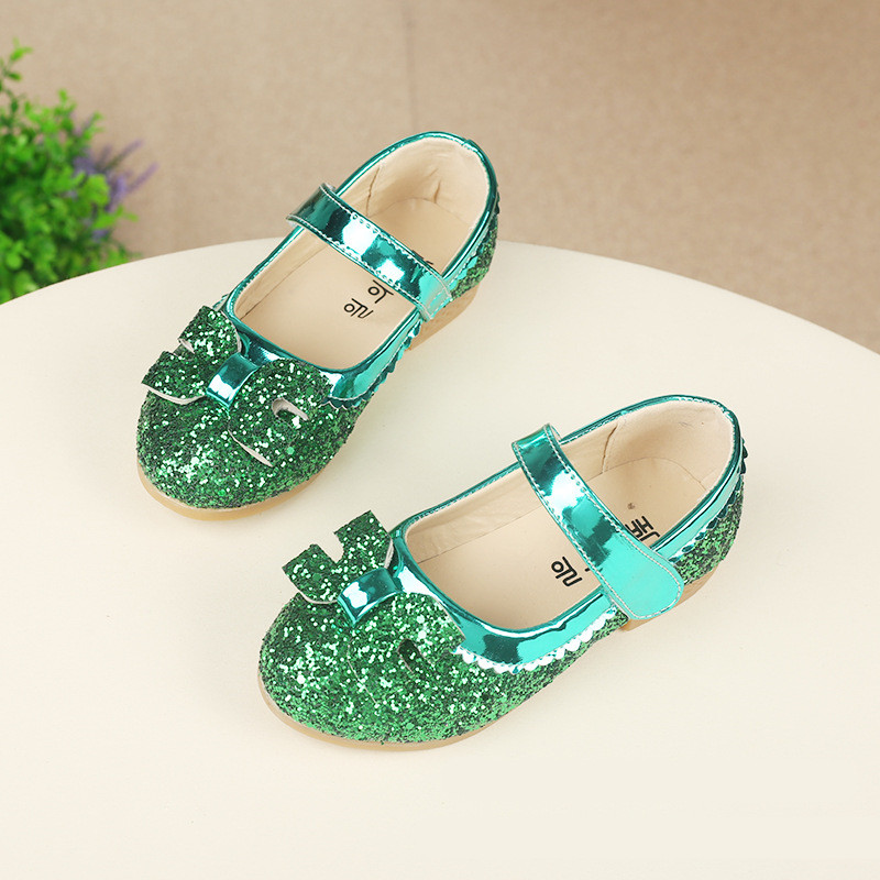 SpringAutumn Kids Fashion Princess Flat font b Shoes b font Girls Korean Bow PU Leather Glitter