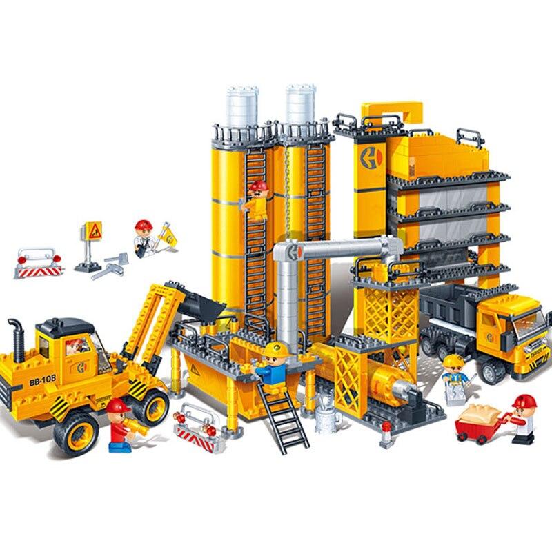 Banbao 8531 строительной техники автобетоновозов Блоки Образовательные Кирпичи модель здания игрушка Для детей друг подарок