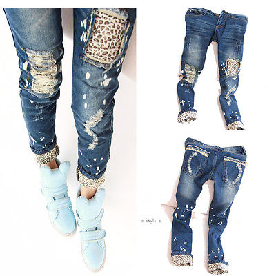 New Fashion Women Ladies Casual Leopard Slim Pencil Jeans Pants Trousers Skinny wine cask shape automatic plastic toothpick holder black