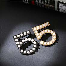 Gold Black Pearl Number 5 Brooch Small fragrance letter fashion party wedding woman holiday boutonniere Brooches(China)