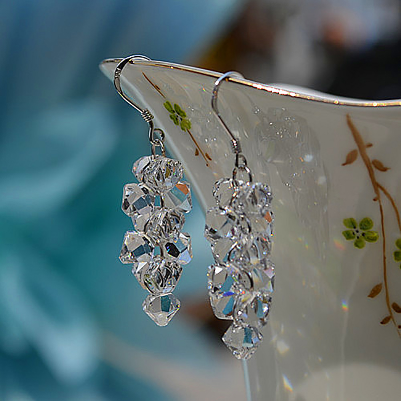 High quality Super flash original 925 sterling silver jewelry Austria crystal grapes long earrings girlfriend