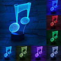 Music Lovers 7 Color Change LED Lamp 3D Note Night Light Musical Note Instrument Light Luminaria