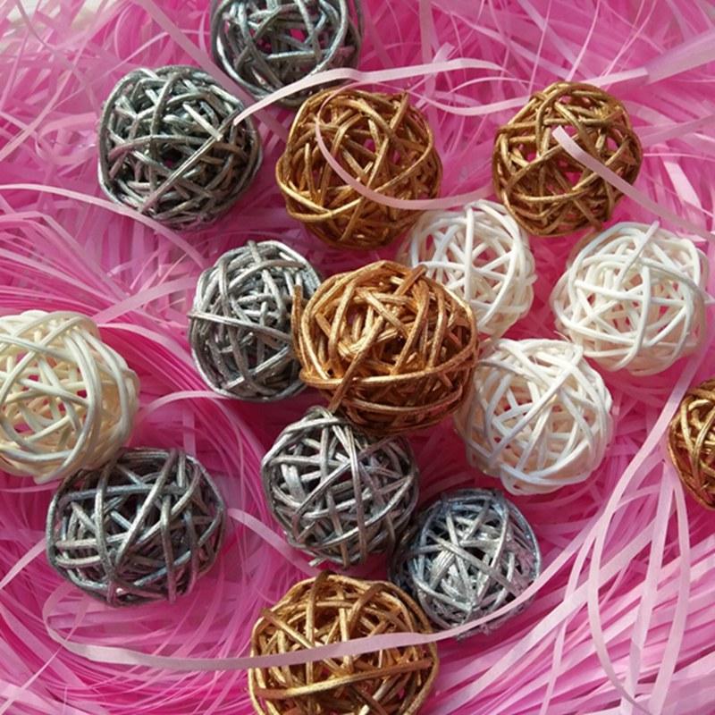 20pcs/lot Christmas Tree Decorative Rattan Ball,wedding And Home Ornament Craft Ball 3cm Free Shipping 014002002 Jade White Ball Ornaments