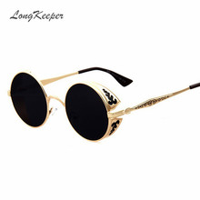 LongKeeper Steampunk Side Visor Sunglasses Round Vintage Sun Glasses for Women Men Retro Steam Punk Goggles Black Gold Silver