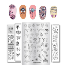1pc Rectangle Nail Stamping Plates Rabbit/Bear/Flower/Letter Art Plate For Printing Template Stencil Tool#LC1