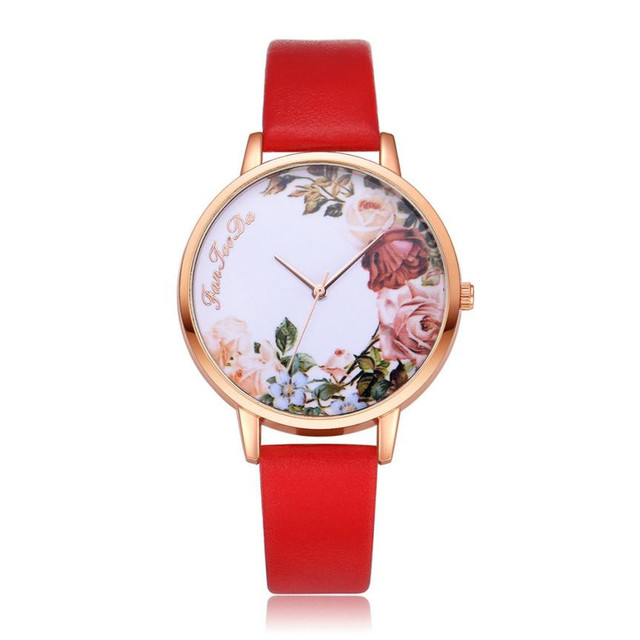 Women Watches Printing PU Leather Strap Analog Quartz Wristwatch Ladies Watch ba