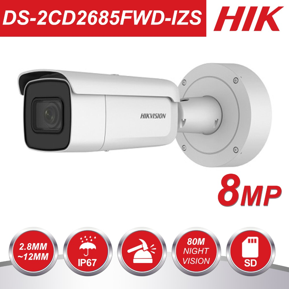 HIK Vari-focal 2.8-12mm Bullet IP Camera DS-2CD2685FWD-IZS 8 Megapixel Video Surveillance POE CCTV Camera H.265 IR 50mHIK Vari-focal 2.8-12mm Bullet IP Camera DS-2CD2685FWD-IZS 8 Megapixel Video Surveillance POE CCTV Camera H.265 IR 50m