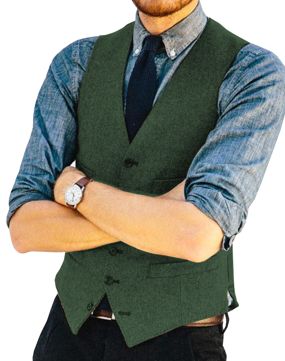 Suits & Blazers Men's Clothing Helpful Mens Suit Vest V Neck Wool Herringbone Tweed Casual Waistcoat Formal Business Vest Groomman For Green/black/brown/coffee