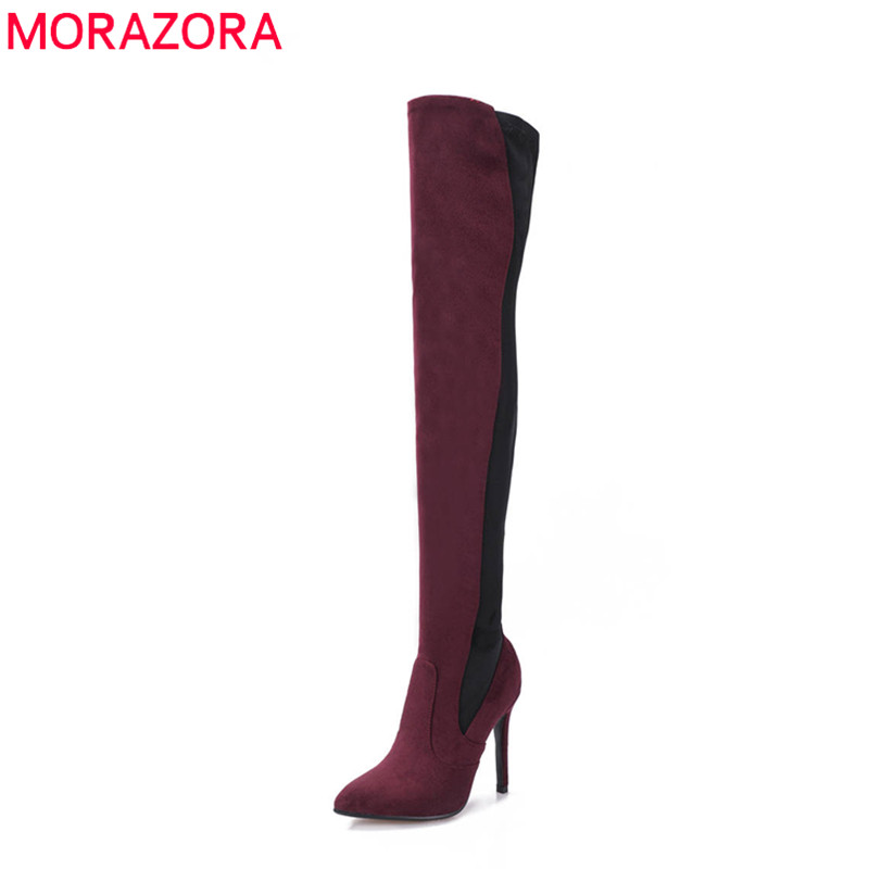 MORAZORA 2018 big size 34-43 flock thigh high boots pointed toe flock autumn winter boots sexy high heels party shoes woman цена