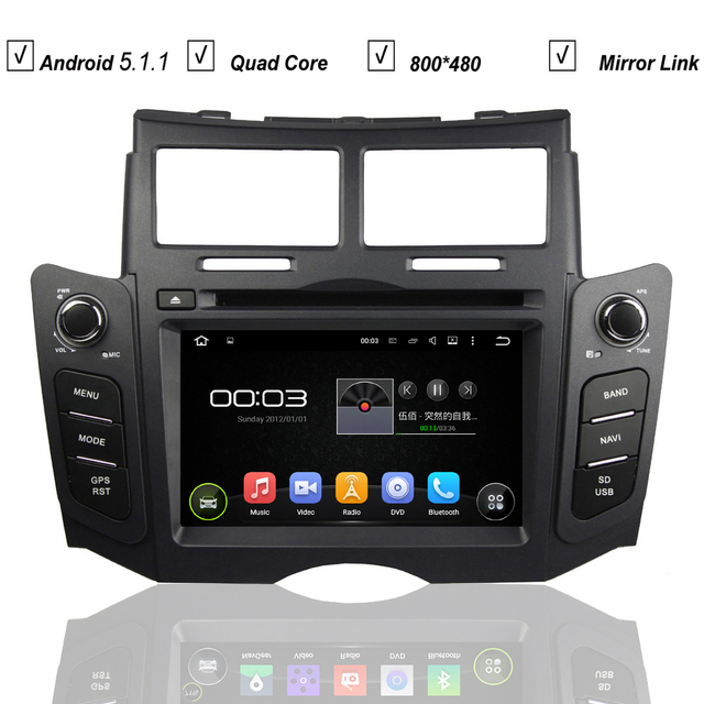 Car DVD Android 5.1 System for Toyota Yaris Sport 2005-2011 Radio RDS Bluetooth Mirror Link 3G WIFI QuadCore 1G RAM 16G RAM