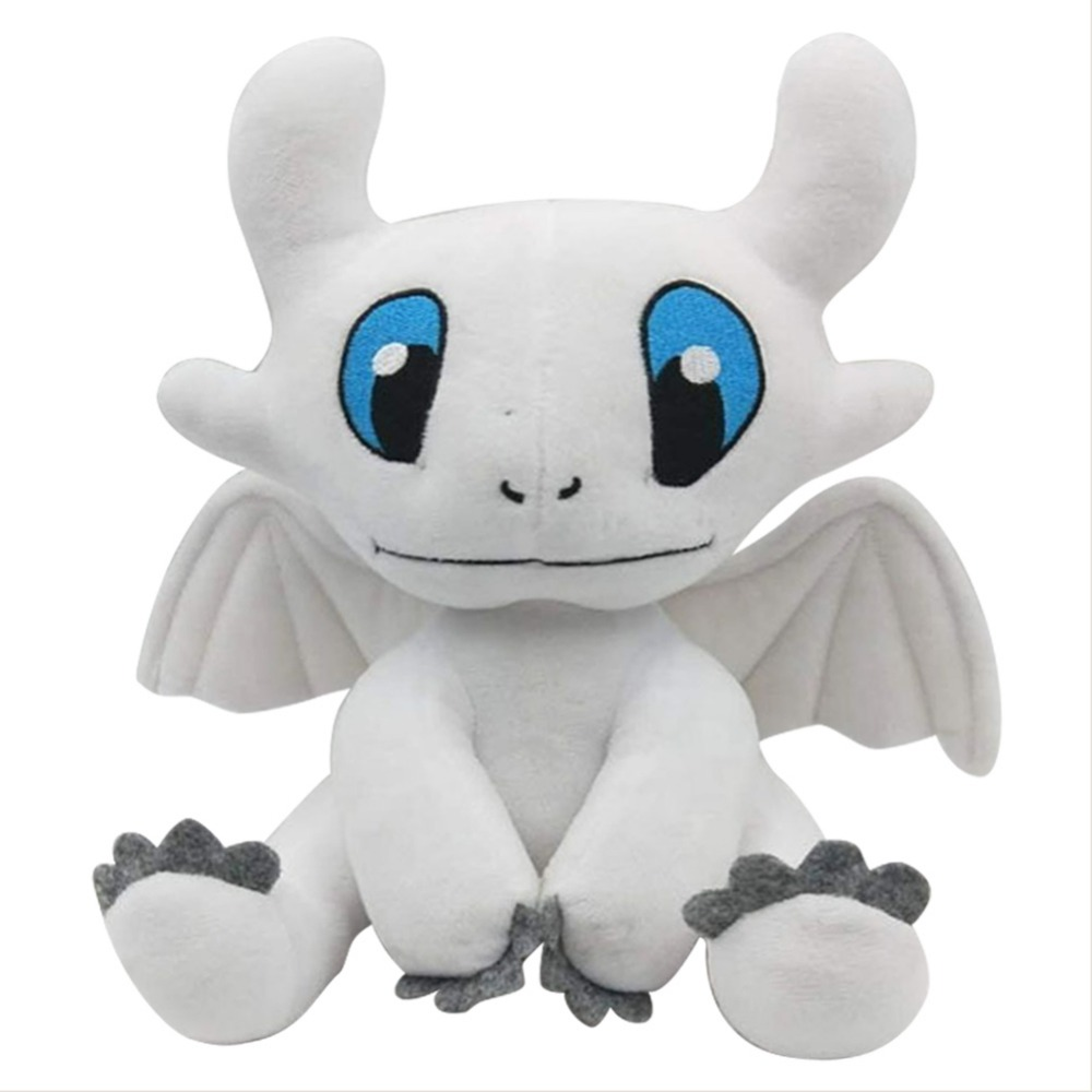 25cm How to Train Your Dragon Light Fury Soft White Dragon Plush Toys Stuffed Doll Kids Gift Halloween Cosplay