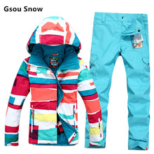 2016  good quality Gsou snow female ski suit sets 10K waterproof Women Snowboard Clothing Winter outdoor Sports Costume
