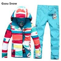 2016 gute qualität Gsou schnee skianzug weiblichen sets 10 Karat wasserdichte Frauen Snowboard Kleidung Winter outdoor Sport Kostüm