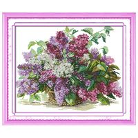 Lilac DIY Handmade Needlework Counted 14CT Printed Cross Stitch Embroidery Kit Set Home Decoration