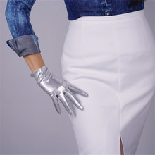 Fashionable Patent Leather Womans Gloves Faux Genuine PU 21cm Short Style Female Mittens P50