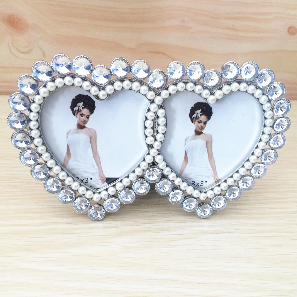 heart shaped home photo frame advanced rhinestone photo frame diamond heart shape metal frame with
