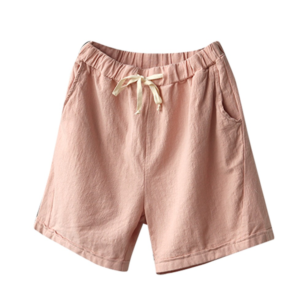JAYCOSIN Summer Women Shorts Drawstring Long-Korea Plus-Size Vintage Straight Cotton