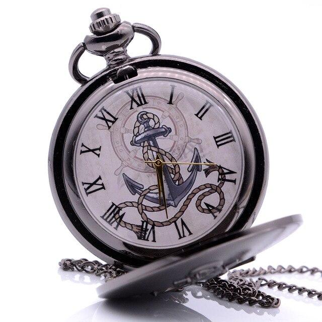 Drop Shipping Vintage Antique The Rudder Anchors Quartz Pocket Watch Analog Pendant Necklace Mens Womens Black Regarder Gift
