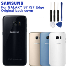 Original SAMSUNG Back Battery Cover For Samsung GALAXY S7 G9300 edge G9350 Cases Phone Glass Backshell