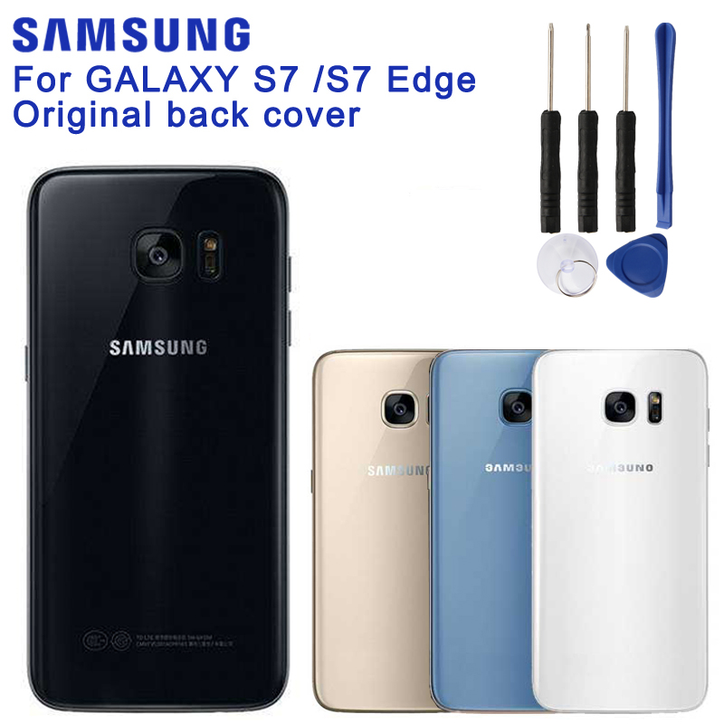 Original <font><b>SAMSUNG</b></font> Back Battery Cover For <font><b>Samsung</b></font> GALAXY <font><b>S7</b></font> G9300 <font><b>S7</b></font> <font><b>edge</b></font> G9350 Back Cover <font><b>Cases</b></font> <font><b>Phone</b></font> Battery Glass Backshell image
