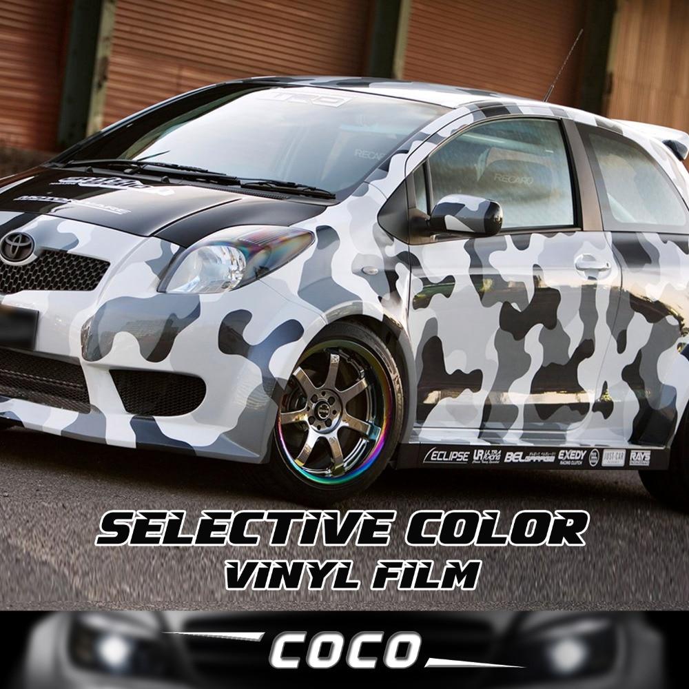 Car body sticker design singapore - Car Styling Truck Body Rearview Mirror Decal Snow White Camo Vinyl Film Wrap Air Bubble Pvc
